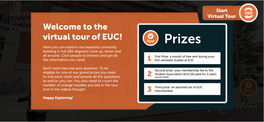 Start tour with info and a quiz